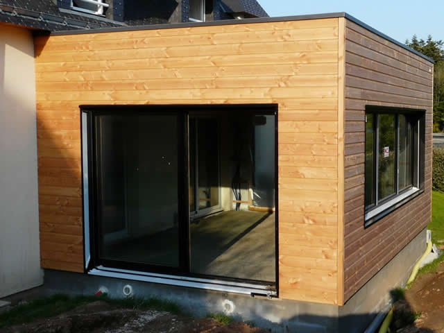 Bardage extension ossature bois probois concept 35 for Extension en bois