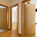 beautiful apartment, interior, wooden doors open